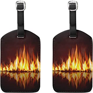 MASSIKOA Burning Flame Cruise Luggage Tags Suitcase Labels Bag,2 Pack