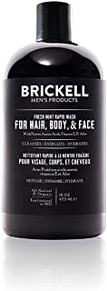 Brickell Men's Rapid Wash, Natural and Organic 3 in 1 Body Wash Gel for Men, 16 Ounce, Fresh Mint Scent