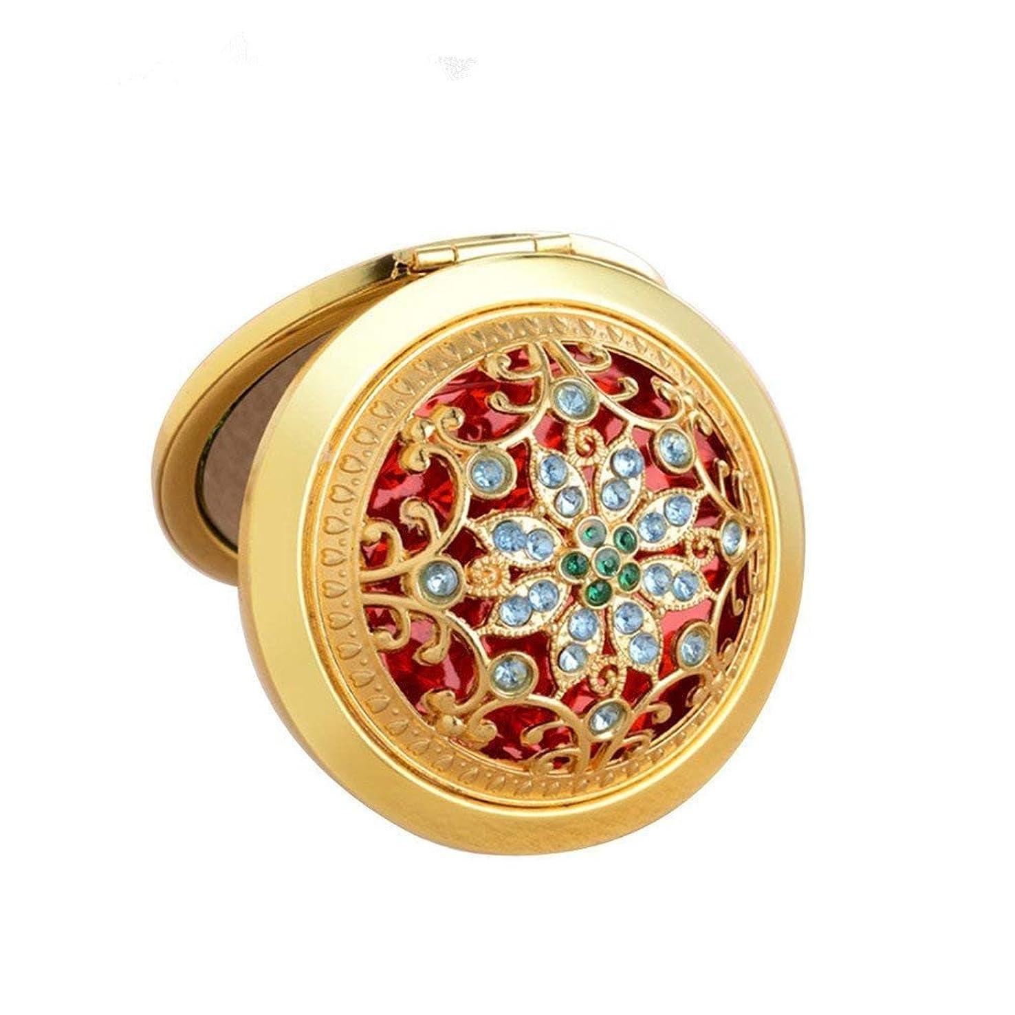 担保解決加害者COKOOL 化粧鏡 折りたたみ 両面コンパクト ハンド ミラー 手鏡美しいデザイン (ゴールド)