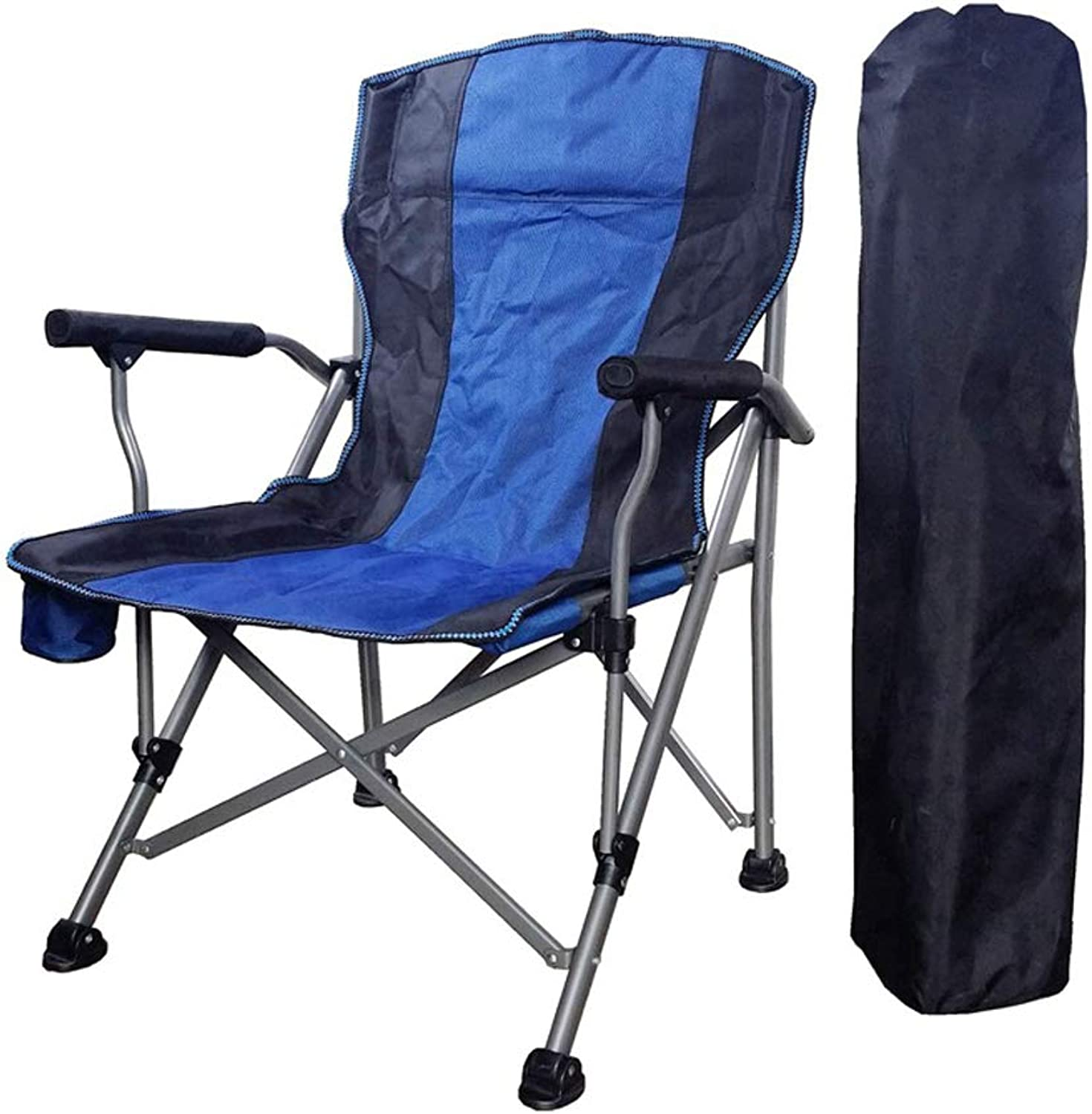 Camping Chair Thickened Oxford Cloth with Cup Holder Armrest Pocket Headrest Breathable Folding Portable Oversize Heavy Duty, Supports 463 lbs,blueeblack