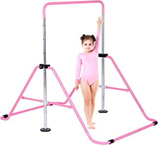 Girls Child Kids Kip Training Bars for Home Folding Horizontal Bars with Adjustable Height Happybuy Gymnastics Bar ,Pink Gymnastics Bars with Loop Practice Bar Gymnastic for Kid Boys at Home