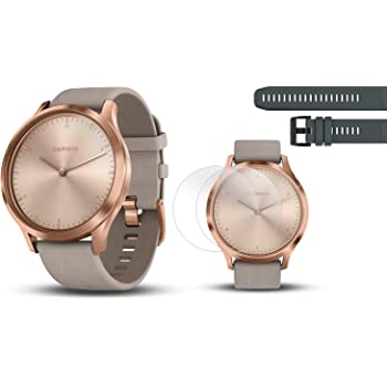 PlayBetter Garmin vivomove HR Premium (Rose Gold/Gray Suede Band, S/M) Hybrid Smartwatch | with Extra Silicone Watch Band (Black) Screen Protectors (x4) | Activity, Sleep & Stress Tracking
