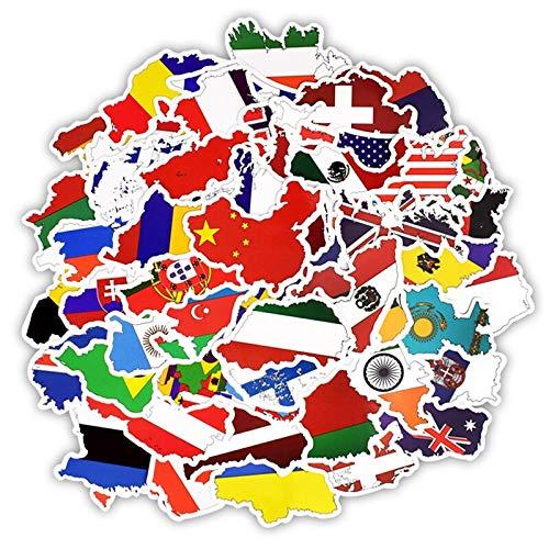 DUOYOU Calcomanía de la bandera nacional de los países, juguetes para los fanáticos del fútbol del fútbol, scrapbooking caso de viaje pegatinas para ordenador portátil 50