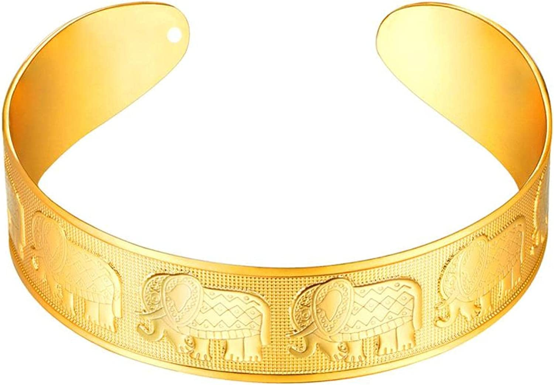Elephant Bracelet For Women Animal Open Cuff Bangles Gold Color