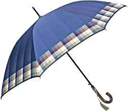 NOBEL(ノーベル) 傘 レディース 雨傘 長傘 日本製 ジャンプ ワンタッチ 甲州産先染め朱子格子織り 裾チェック 裏ストライプ 日本製ジャンプ式雨傘 女性