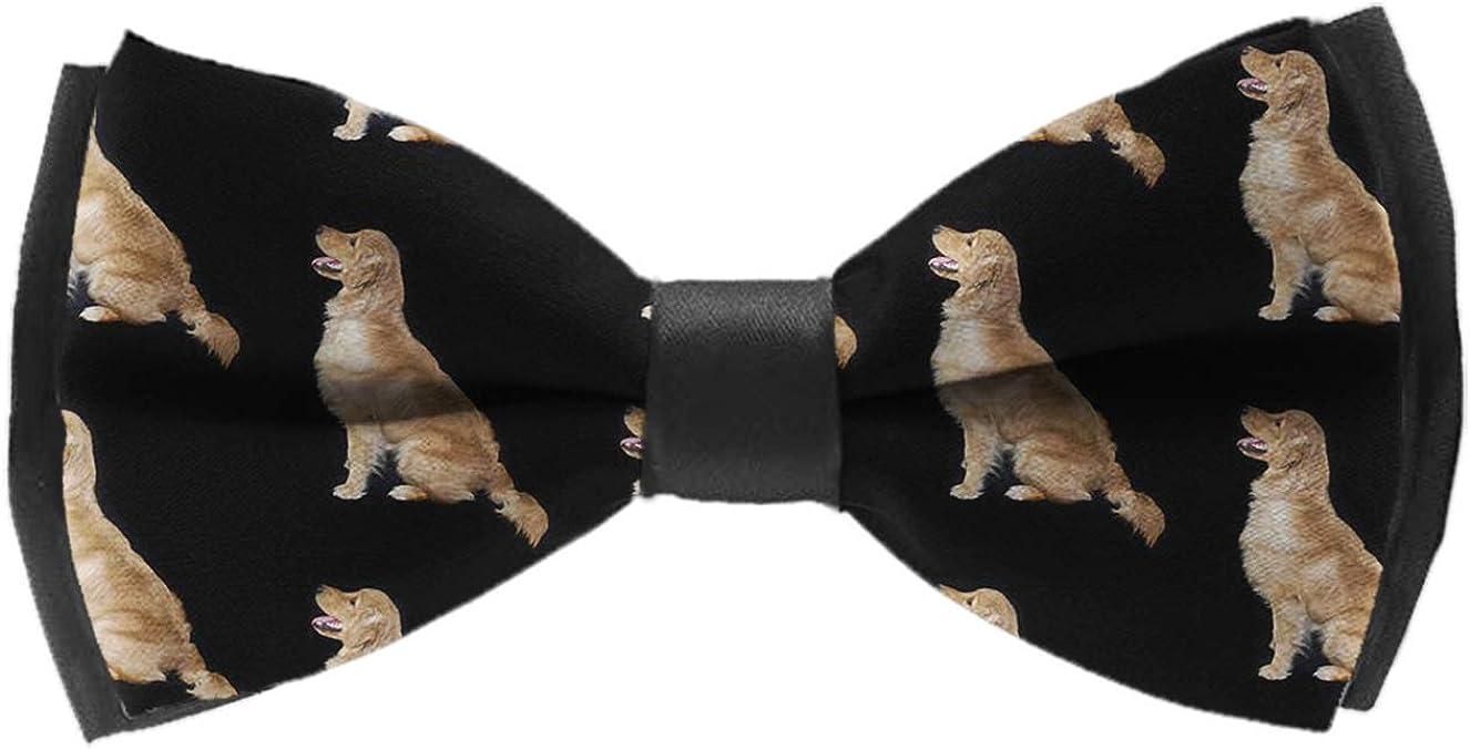 Mens Classic Pre-Tied Satin Formal Tuxedo Bowtie Adjustable Golden Doodle Dog