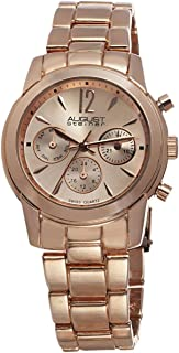 August Steiner Women's Swiss Fashion Watch - Day of Week, Date, and 24 Hour Subdial on Stainless Steel Oyster Bracelet