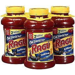 Ragu traditional spaghetti sauce has memorable Italian flavor Classic smooth texture with thick, rich traditional sauce Features flavors of thick tomatoes, extra virgin olive oil and Romano cheese Includes three jars of Ragu traditional spaghetti sau...