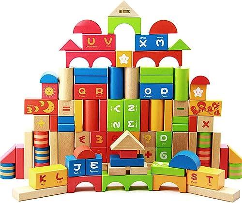 LHYP Holzbl e Bau Geb e Spielzeug Set Stücking Bricks Brettspiele 100 Stücke Lernspielzeug Für Kinder