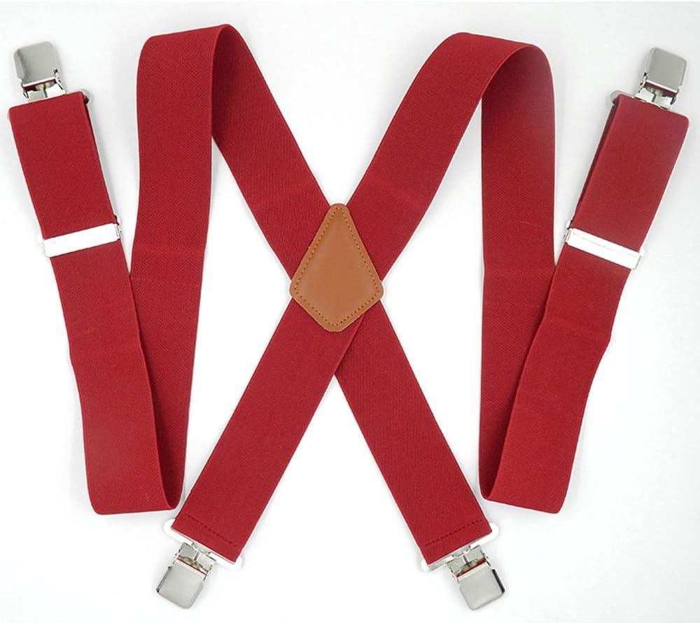 ZYDP Mens Suspenders 1.9inch Wide Adjustable X-Back Heavy Duty Clip Suspenders - Elastic, Big & Tall (Color : 4 Clip)