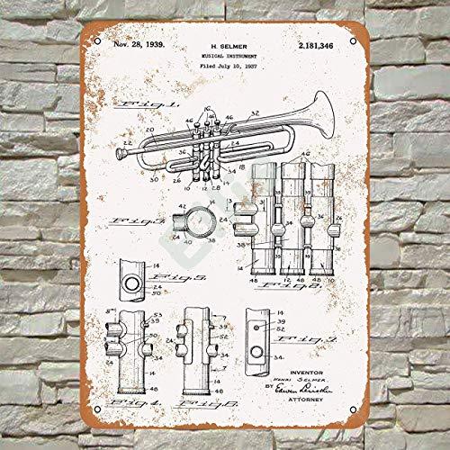 Ellis 1939 Selmer Trompete Patent Vintage Retro Metall Blechschild Wanddeko für Geschäft Mann Höhle Bar Haus Garage