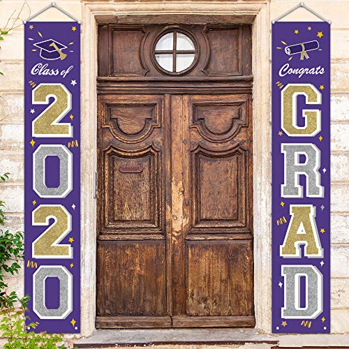 ORIENTAL CHERRY Graduation Decorations 2020 Purple Silver Gold - Class of 2020 Congrats Grad Yard Sign Banners - Hanging Flags Porch Décor for Kindergarten Senior High School College Graduates
