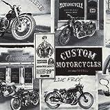 Schwarzer grauer weißer Amerika Motorrad Stoff von