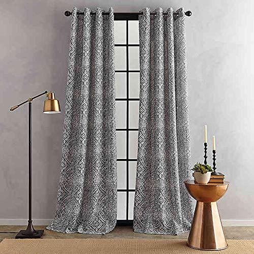 Bedeck Juma Print 84-Inch Grommet Window Curtain Panel in Grey