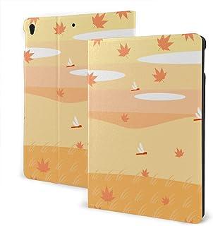 もみじと赤とんぼ IPad ケース iPad カバー 手帳型 IPad 保護カバー 高級PU レザーケース スタンド 全面保護 多角度調整 汎用ケース 傷つけ防止 耐衝撃 かわいい おしゃれ シンプル 最新