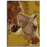 CCBRA 1000 Pezzi Due Teste di Cavallo Gioco Puzzle per Adulti e Bambini Negozio Speciale per Famiglie Decorazione Puzzle in Legno