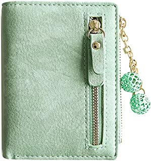 Women's Rfid Small Bifold Leather Wallet Ladies Mini Zipper Coin Purse id card Pocket,Slim Compact Thin