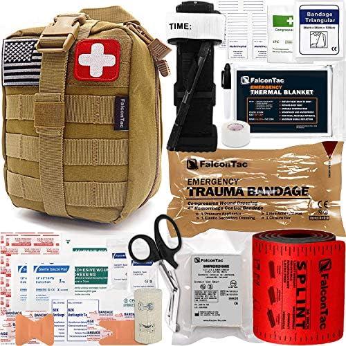 FalconTac Trauma Kit EMT IFAK Emergency Treatment Care First Aid Kit with Aluminum Rod Tourniquet product image