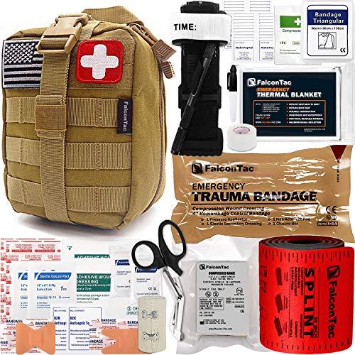 FalconTac Trauma Kit EMT IFAK Emergency Treatment Care First Aid Kit with Aluminum Rod Tourniquet...