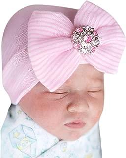 Newborn Baby Girl Cute Pretty Bow Flower Pearl Hospital Hat