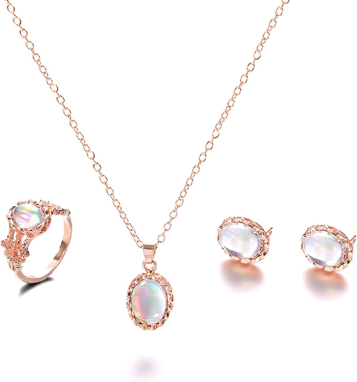 Necklace Ring Earring Anklet 4 Piece Set,Women Elegant Earrings Charm Jewelry Pendant Earrings Jewelry Gift One Size Fashion Style Jewelry