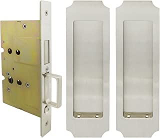 INOX FH32PD8115-234-15 Mortise Pocket Door Passage Lock with 2-3/4-Inch Backset and Dust Proof Strike, Satin Nickel