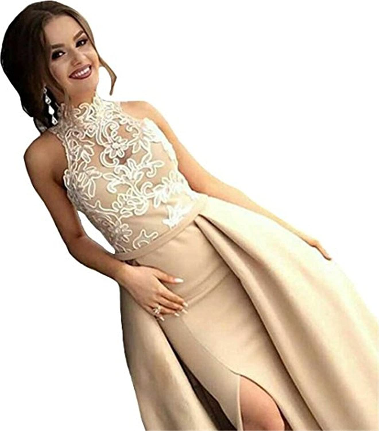 Chenghouse Detachable Train Mermaid Prom Dresses ONeck Lace Prom Gowns