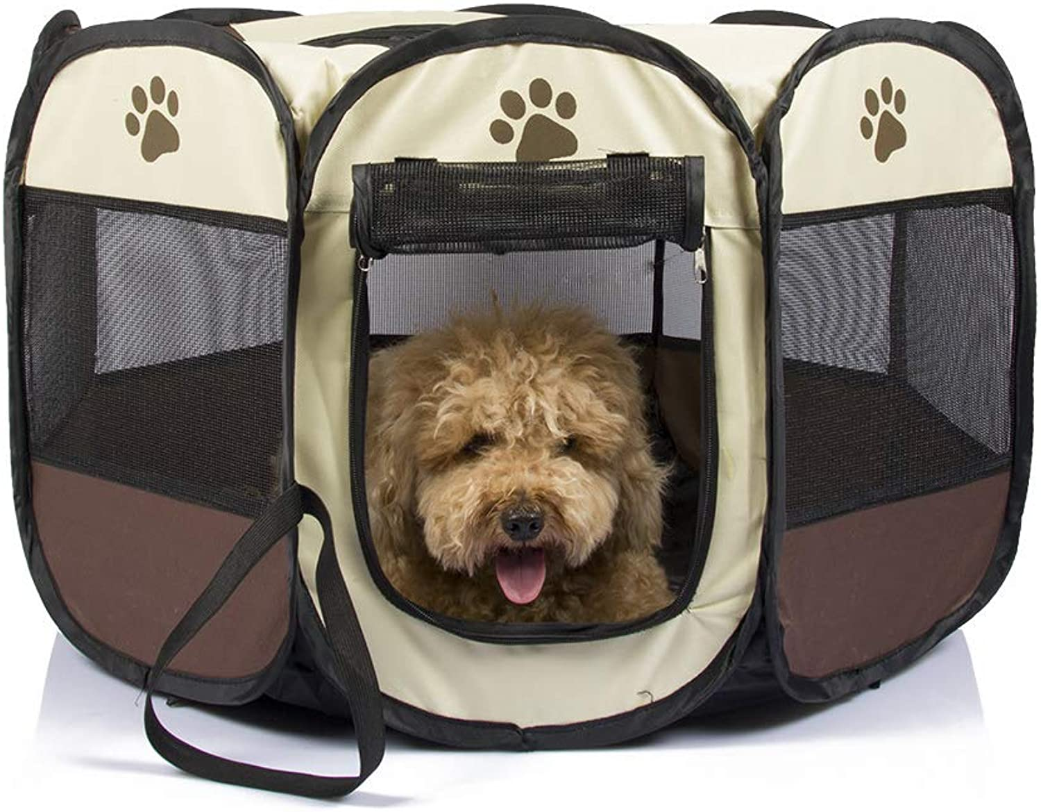 Portable Fabric Pet Play Pen,Foldable Puppy Dog Cat Rabbit Guinea Pig Run Cage Crate Kennel Tent, Brown (Diameter  90 cm, Height 60cm),Brown,S