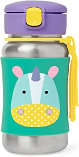 Skip Hop Baby Zoo Little Kid and bebé Feeding Travel-To-Go Botella de pajita de acero inoxidable aislada, 12 onzas, Unicornio, Unicorn, 0.45 Pound