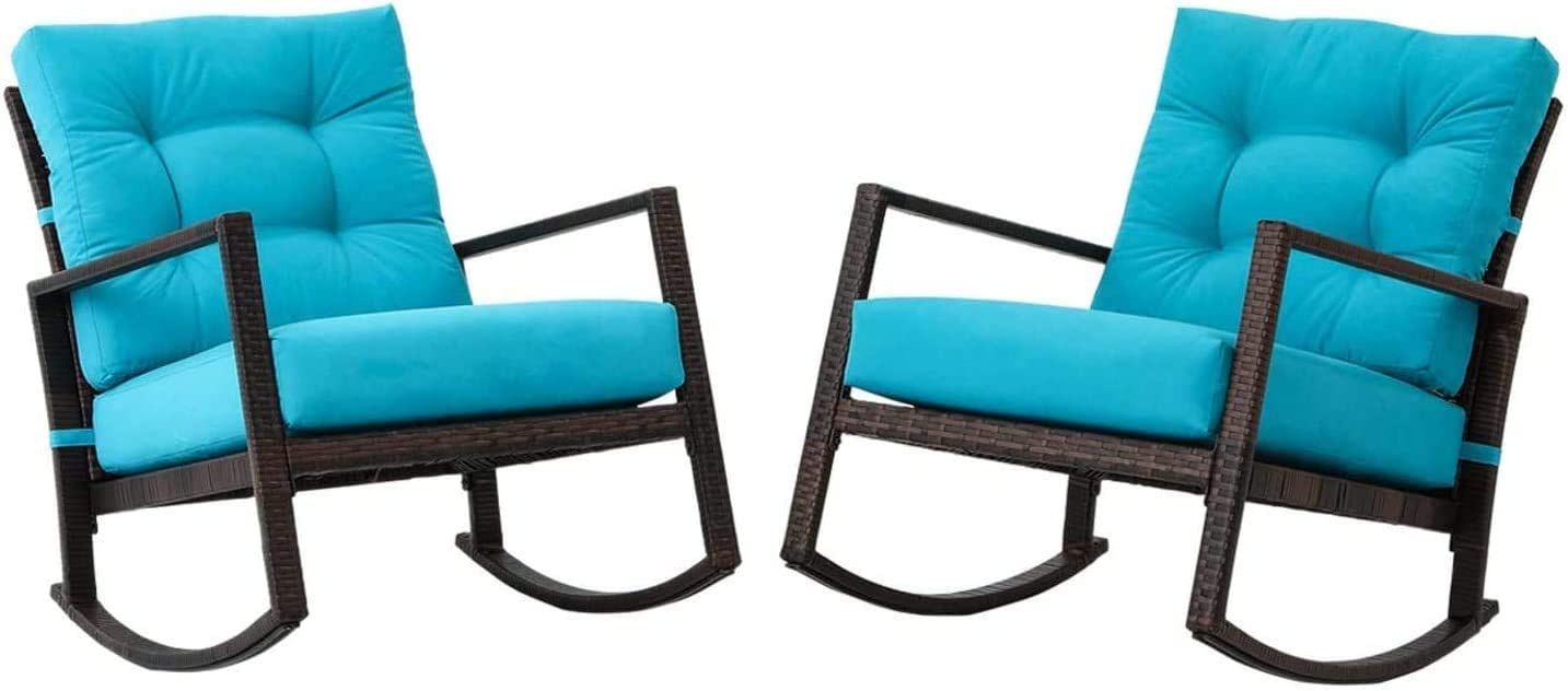 Balcony or Poolside Betterland Outdoor Patio Rocking Chair 2 Piece Set All-Weather PE Wicker Chair with Thick /& Washable Cushions for Garden Backyard Blue