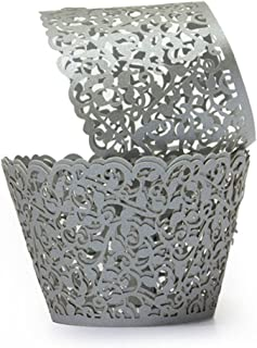 Gusnilo 100pcs Filigree Vine Cupcake Wrappers Wraps Cases Wedding Birthday Decorations Silver