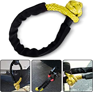 RUGCEL Synthetic Soft Shackle(47,000LB Breaking Strength) for Boating ATV UTV SUV 4X4 Truck Recovery (3/8'') (Yellow)