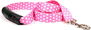 "Yellow Dog Design New Pink Polka Dot EZ-Grip Dog Leash with Comfort Handle, Large-1"" Wide and 5' (60"") long"