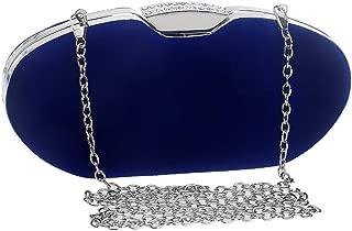 Fashion Women's Solid Color Suede Banquet Clutch Bags/Evening Bag/Chain Shoulder Slung Bride Bag Red/Blue (Color : Blue)