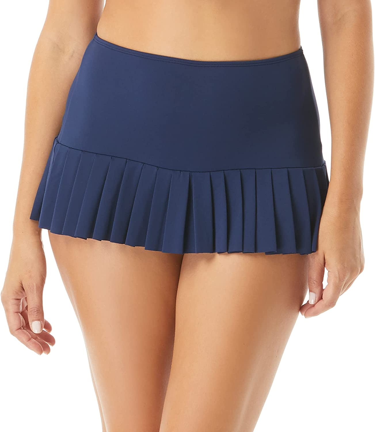 Pleated Skirted Swim Bottom — Sporty Skirt with Attached Bikini Bottoms, Sophie — Plus and Regular
