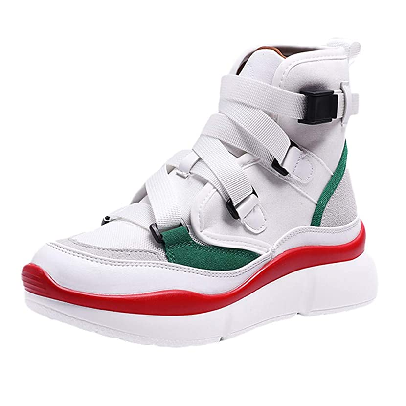 Women's Platform Sport Shoes, NDGDA Retro Leisure Thick Bottom Buckle Strap Sneakers