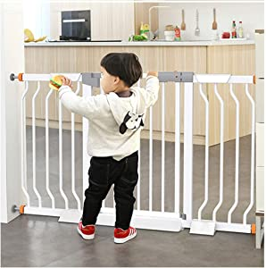 HONGNA Telescopic Door Baby Gates For Stairs Bar Pet Fence Folding Door Bar Pressure Mount Free Punch  Color White  Size 167-174cm