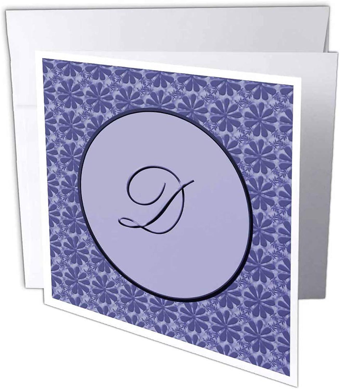 3dRosa gc_36015_1 Grußkarte Eleganter Buchstabe D in rundem Rahmen, umgeben x Blaumenmuster, alles in Lavendelblau Monotones , 6 Stück B07BJCT165   Ausgang