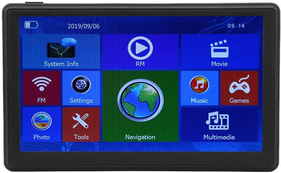 PUSOKEI GPS Navigation for Car, 7inches LCD Screen Vehicle GPS Units & Equipment GPS Navigator System, 8GB Real Voice Spoken with POI, Broadcast Function, Driving Alert,Multimedia Player