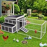 """Esright 88"""" Large Chicken Coop Wooden Chicken Cage Hen House, Outdoor Yard Poultry Pet Hutch for Small Animal Coops with Nesting Box and Chicken Run for 6-8 Chickens"""
