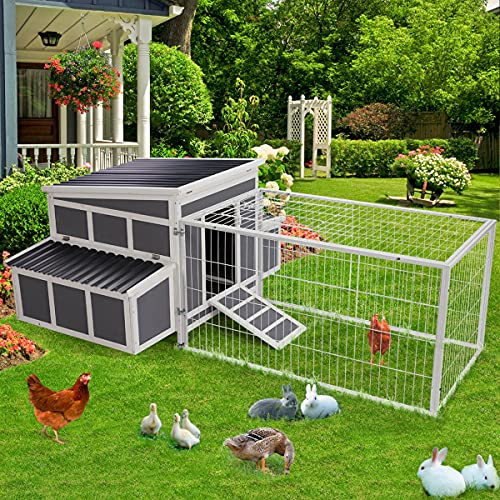 Esright 88' Large Chicken Coop Wooden Chicken Cage Hen House, Outdoor Yard Poultry Pet Hutch for Small Animal Coops with Nesting Box and Chicken Run for 5-8 Chickens