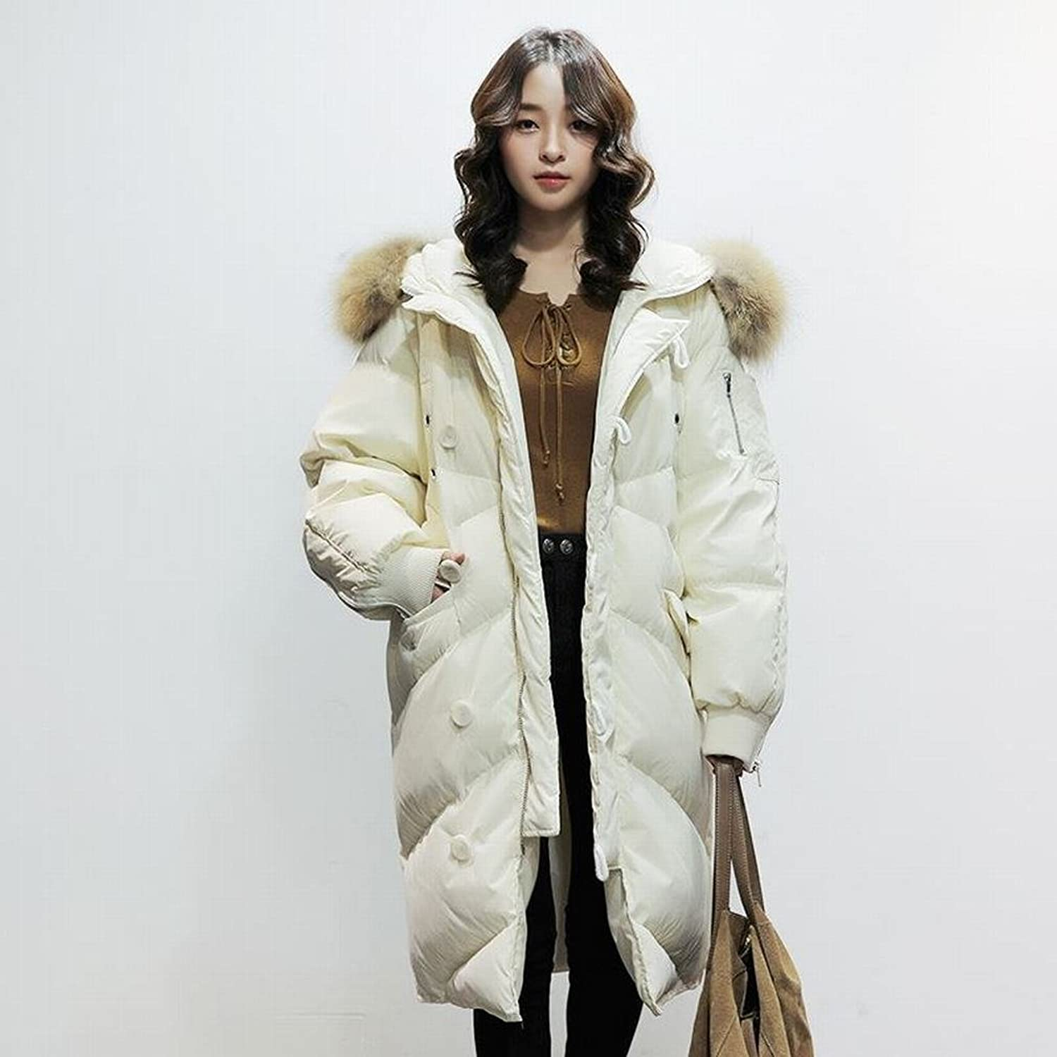 HF Ladies down Jacket Fashion in the Long Section of Fashionable Big Hair Collar Knee Winter Coat