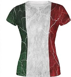 Distressed Italian Flag All Over Juniors T Shirt