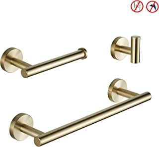 BGL Brushed Gold Bathroom Hardware Set 3-Pieces SUS 304 No Drill Bathroom Accessories Set Wall Mount Bathroom Towel Rack Set
