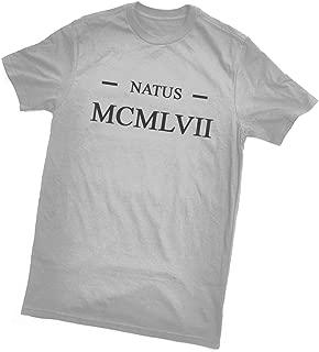 Bertie Natus MCMLVII T-Shirt (Born 1957 in Latin/Roman Numerals), Grey,