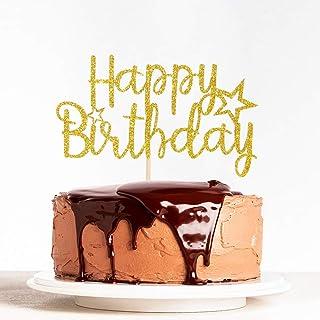 WeBenison Gold Glitter Happy Birthday Cake Topper, Happy Anniversary Children Birthday Party Decorations