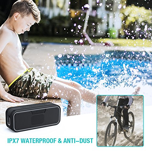 Pool Rich Bass Zosam Portable Bluetooth Speaker IPX6 Waterproof Wireless Speaker with 10W HD Stereo Sound Travel Built-in Mic and AUX//SD Input for Shower Outdoor 10H Playtime