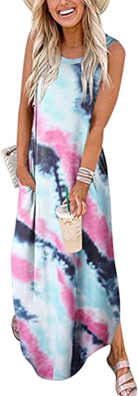GCETTIC Dresses for Women Casual, Summer Women's Fashion Printed Maxi Dress Loose Sleeveless Plus Size T-Shirt Long Dress