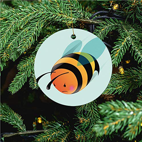 aosup Angry Bee/Christmas Ornaments 2020 Christmas Ceramic Pendant Personalized Creative Christmas Decorations Double Sided Christmas Tree Ornament №IS060976
