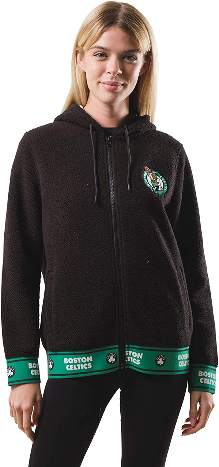 Ultra Game Womens Full Zip Sherpa Jersey Hoodie with Team Logo